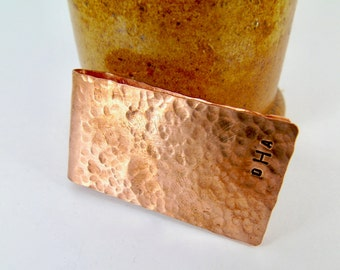 Copper Money Clip Texture Handmade  Hand Stamped Monogram Mens Gift  Weddings Groom Best Man, Anniversaries Graduation valentine Gift