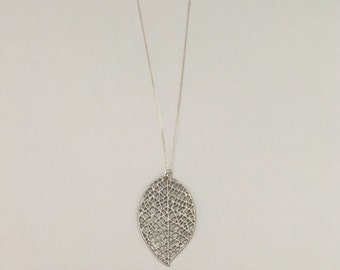 Leaf pendant, necklace, matte silver, 960 sterling silver with sterling silver chain