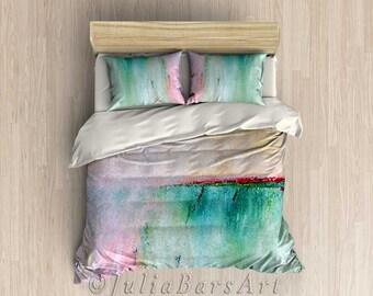 Pink Duvet Cover, Turquoise Duvet, Beach Duvet, Pink Comforter Cover Teal Duvet Art Bedding Teal Bedroom Decor Coastal Bedding Pink Bedroom
