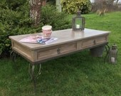 Vintage Grey Hand Painted Pine Coffee Table Metal Base Cabriole Legs 2 Drawers Handmade FREE DELIVERY