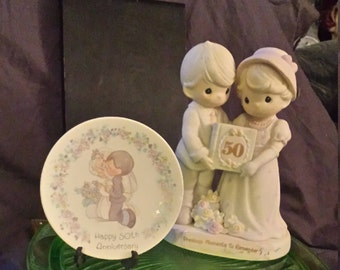 "Precious Moments 50th Anniversary Couple ""50th"" Front With Flowers, Small Precious Moments Plate Kneeling Couple ""Happy 50th Anniversary"""
