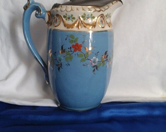 Victorian Blue & White Water Jug/Pitcher with Pewter Lid and Hand-painted Flowery Decoration