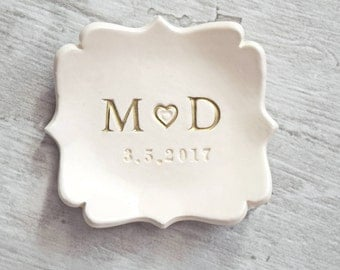 RING DISH PERSONALIZED initials date wedding ring holder, engaged date ring tray, gold letters ring dish, anniversary gift, custom clay dish