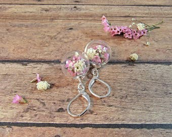 Real flower earrings, pink and white flowers, terrarium jewelry, baby's breath earrings, nature jewelry