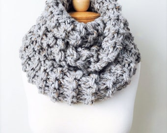 Knit Scarf, Wool Scarf, The Rhapsody, Chunky Infinity, Handmade Scarf, Gray Scarf, Knitted Scarf