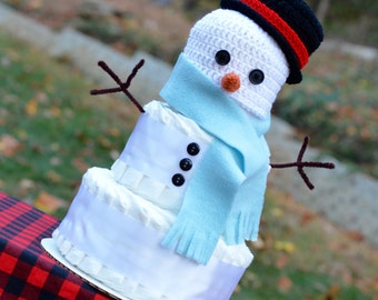 Winter Baby Shower Decoration - Snowman Hat - Snowman Diaper Cake - Baby It's Cold Outside Decoration - Frosty the Snowman - For Baby Boy