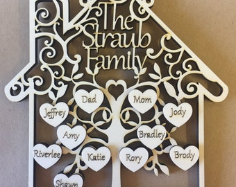 Personalised Family Tree, Family Sign, Family Plaque, Grandchildren frame, Personalized Family tree, Mothers Day Gift, Gift for Mum