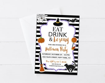 Halloween Eat Drink & Be Scary Invitation, Halloween Invite, Black and White Stripe Halloween Party Invite, 4x6 5x7- Printable Digital File