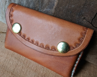 Tooled Leather Business Card Case