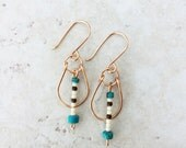 Turquoise Stone Earrings with Cream and Bronze Glass Seed Beads >> Natural Stone Jewelry >> Gemstone Earrings >> Beaded Boho Earrings >>Gift
