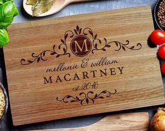Wedding Cutting Board,  Personalized Cutting Board, Family crest, Chopping Board, Custom cutting board,  Personalized closing gift (198)