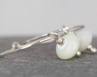 Mother of pearl hoops earrings ~ small silver hoops ~ white drop earrings ~ sterling silver jewellery~ bridesmaid earrings ~ beaded earrings