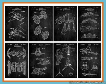 Star Wars Poster Print Set of 8 Patent Collection, X-Wing, TIE Fighter, AT Walker, Star Wars Gifts For Him Her Men Woman Mom Dad Wall Art