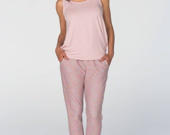 Maternity Trousers/Maternity Sweatpants / Over-the-bump jersey/Pink