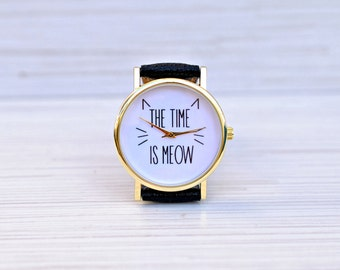 Cat|watch|Gift|for|women|Christmas|gift|Unique|Women|watches|Graduation|gift|Gift|for|her|Funny|pet|gift|Bridesmaid|gift|The time is meow