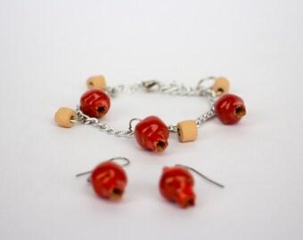Pomegranate earring and bangles ceramic set for women