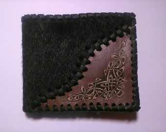 Mens Leather Wallet, Leather Wallets, Unique leather wallet, Handmade Wallet, Gift for him, Celtic wallet, Pony skin wallet, Original wallet