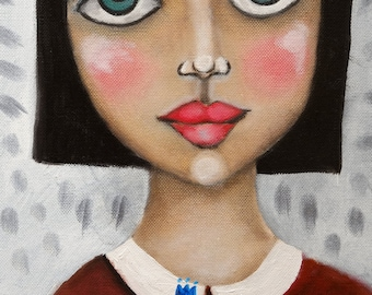 big eyed girl, modern original painting, inspired by Margaret Keane, oil painting, modern art, figurative painting, portrait, bird, portrait