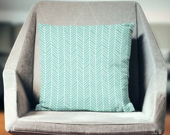Turquoise Pillow | Green Pillow | Mint Green Pillow | Green Pillow Cover | Aqua Pillow | Mint Green Decor | Chevron | Herringbone Pillow