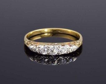 Victorian diamond engagement ring, circa 1890.