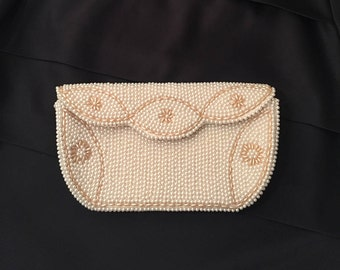 Vintage Large Ivory Pearl Beaded Bridal Clutch