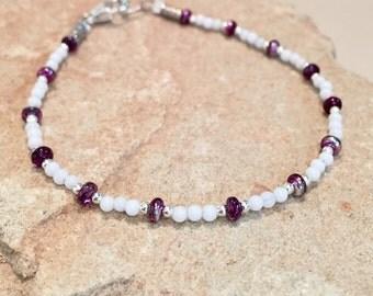 White and purple bracelet, white jade beads, Czech rondelle beads, sterling silver bracelet, jade bracelet, sundance style bracelet