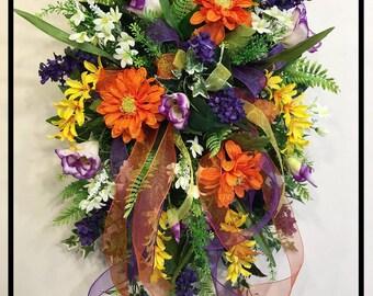 Summer Wreaths For Front Door, Summer Door Swag, Floral Door Hanger, Floral Door Swag, Summer Wreath, Front Door Wreaths, Summer Wreathes