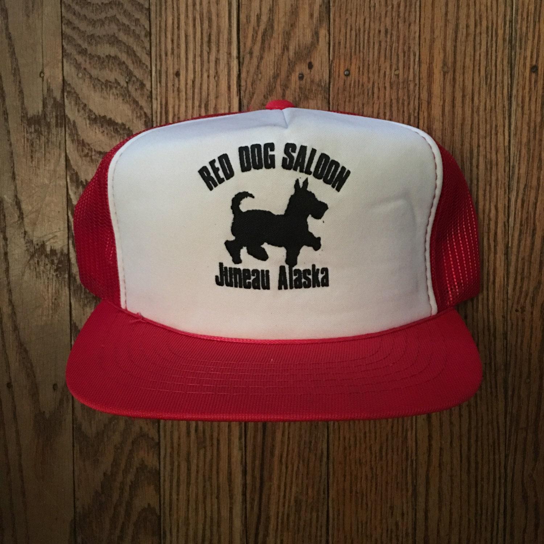 61ef7a0be05a7 Vintage Red Dog Saloon Juneau Alaska Mesh Trucker Hat Snapback Baseball Cap