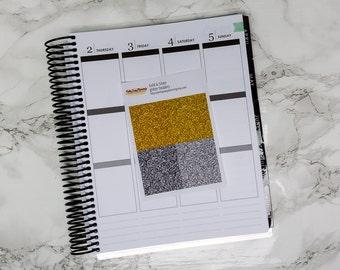 Gold & Silver glitter headers - Erin Condren vertical - glossy glitter - glitter strips - glitter stickers - planner stickers - kit add-on