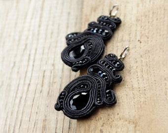 Soutache earrings, inspirational Boho gift-for-wife Black chandelier earrings, soutache jewelry Special occasions earrings Drop earrings