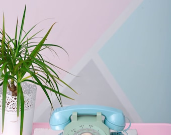 """Vintage """"Southern Bell"""" Rotary Telephone in Minty-Teal - Mid-Century Chic!"""
