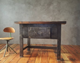 Vintage Industrial Butcher Block Kitchen Table, Steel table, Brushed Metal, Heavy duty table, Factory Table, Kitchen Counter, Kitchen Island