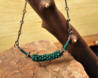 Green Charlotte Beaded Coiled wire necklace