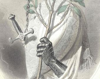 1847 Antique Grandville Les Fleurs Animees Laurel Hand Colored Print Botanical Original