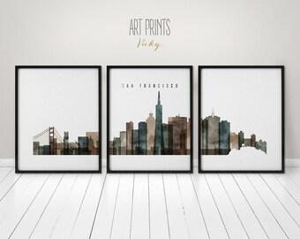 San Francisco art prints, 3 pieces, Art posters, watercolor wall art, travel, large wall art, skyline, city art, home decor, ArtPrintsVicky