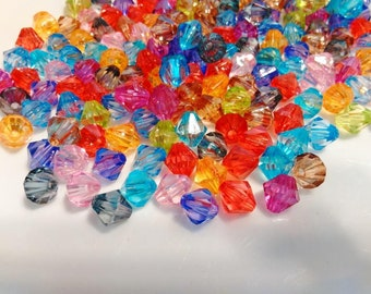 100 Acrylic Bicone Beads 8 mm Mixed Color Acrylic Bicone Spacer Beads Rainbow Bicone Beads Multi-colored Bicone Beads DIY Jewelry Supplies