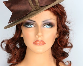 1960s Brown Camel Fur Top Hat Satin Bow One-of-a-kind Collector's Piece