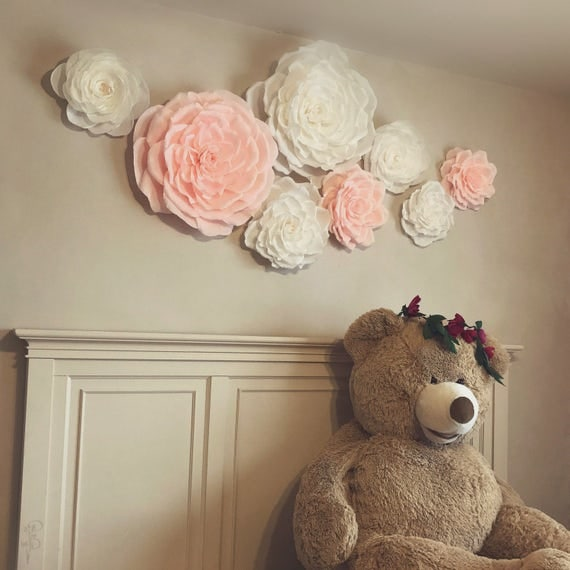 Baby Nursery Paper Flower Wall, Set of 8, | * July/August Delivery | Handmade Crepe Paper Flowers, Baby Trend, Little Girl Room, Baby