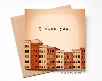 I miss you card, Red Buildings, Feeling alone, Thinking of You Card, Long Distance Relationship Card, Greeting card, missing you card