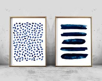 Set of Two Abstract Watercolor Prints Indigo Blue Art Navy Wall Art Stripes Dots Minimalist art Minimal Printable Scandinavian Poster Boho