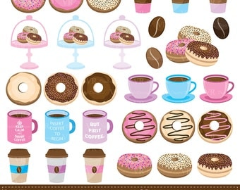 Coffee and Donuts Clip Art, Doughnut Clipart, Breakfast Clipart, Instant Digital Download Vector Clip Art