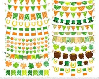 St Patricks Day Bunting Banner Clip Art, Irish Bunting Banner Orange Green Clipart, Digital Download Vector Clip Art