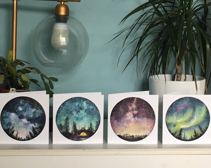 Pack of 4 Starry Sky Greetings Cards