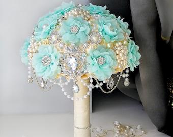 SALE!!Brooch bouquet bridal bouquet crystal wedding bouquet fabric bouquet keepsake bouquet luxury wedding mint pearl broach bouquet jewelry