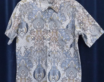 80s Indonesian Batik Print Shirt Indonesian Shirt Party shirt Wax Dashiki Shirt Short Sleeve Shirt large