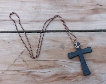 Wood Cross Necklace, Wooden Cross, Women cross necklace, Anchor pendant, Elegant necklace, Nautical jewelry, Copper chain, Black cross