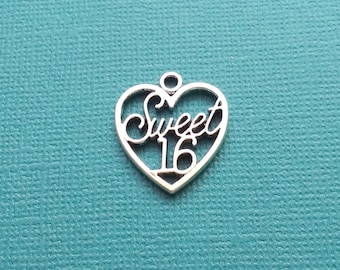 10 Sweet 16 Age Heart Charms Silver - CS2611