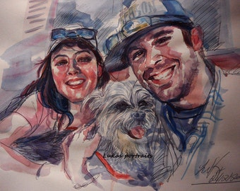 Custom Couple's Portrait, Watercolor Painting, Anniversary, Wedding Gift, Personalized Portrait, Husband Gift, Wife Gift, Engagement Gift