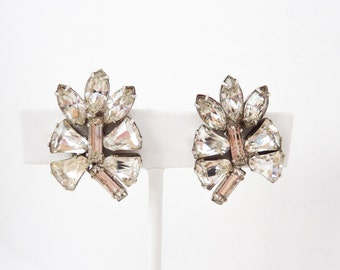 Clear Rhinestone Earrings   Large Statement Size   Vintage Bridal Jewelry   Silver Large Clips   Art Deco Jewelry   Antique Wedding Clip Ons