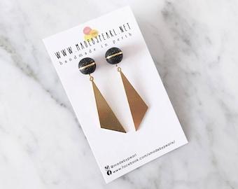 Midnight Twinkle Clay Stud + Geometric Shape Brass Plate Dangle | Minimalist Polymer Clay Stud Earrings | Hypoallergenic Surgical Steel